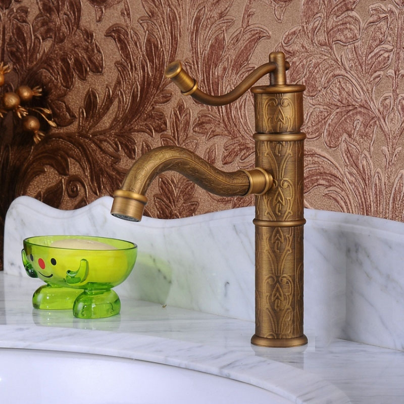 Stylish Hand Pump Antique Brass Bathroom Faucet