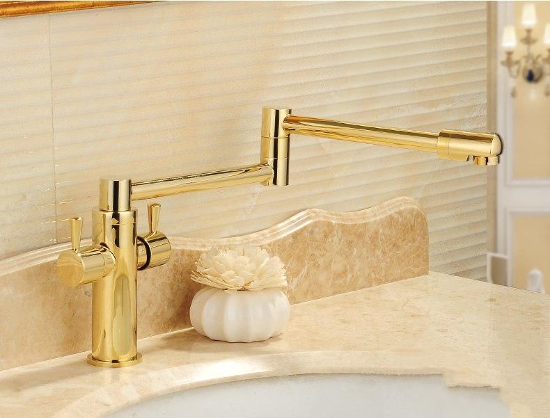 Stylish Swivel Folding Deck Mount Dual Handle Bathroom Faucet