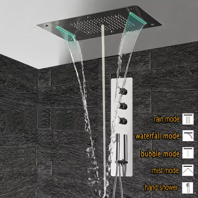 Super Luxury 5 Function Recessed Ceiling Mount LED Large Shower Set