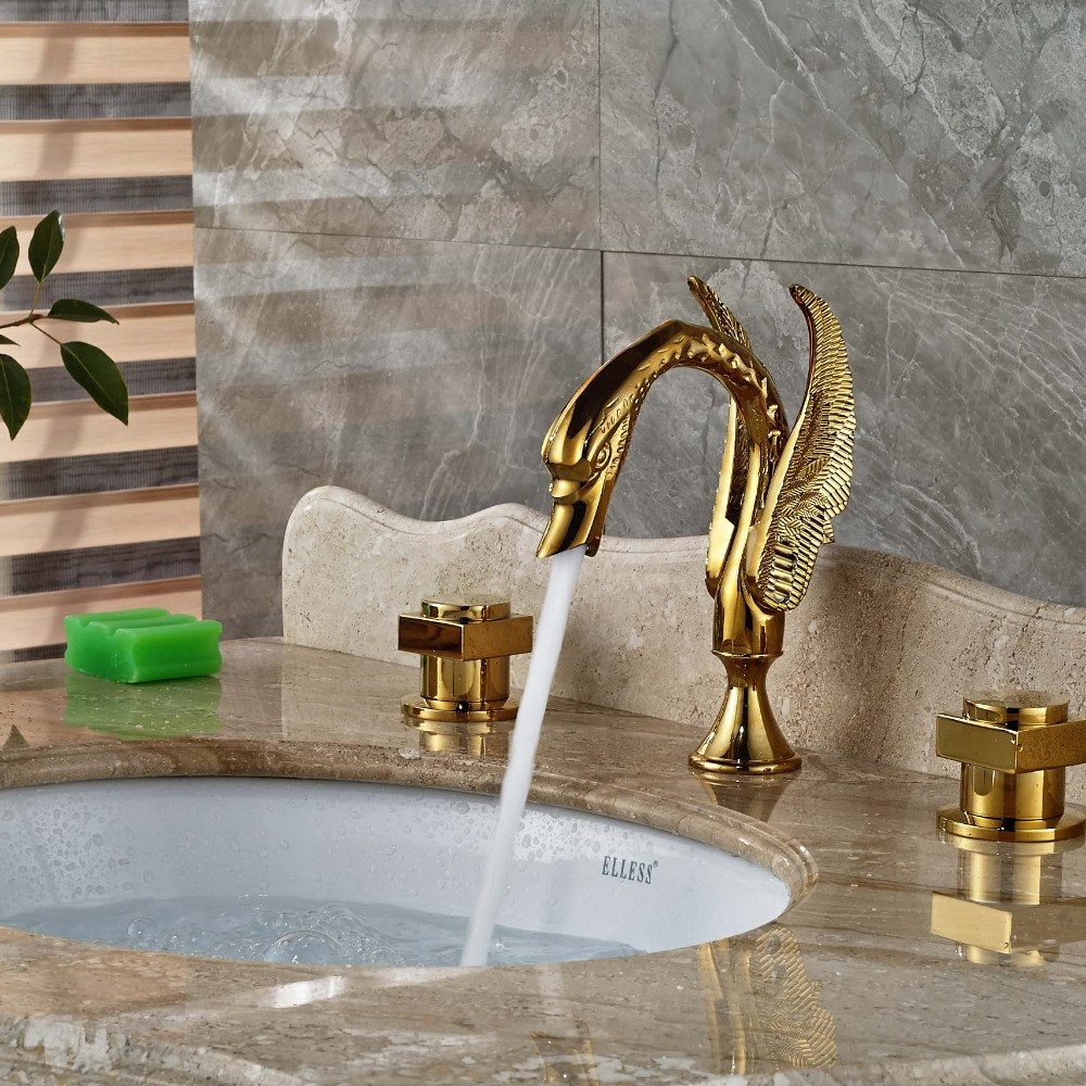 Swan Gold Finish Dual Handle Wall Mount Brass Bathroom Sink Faucet