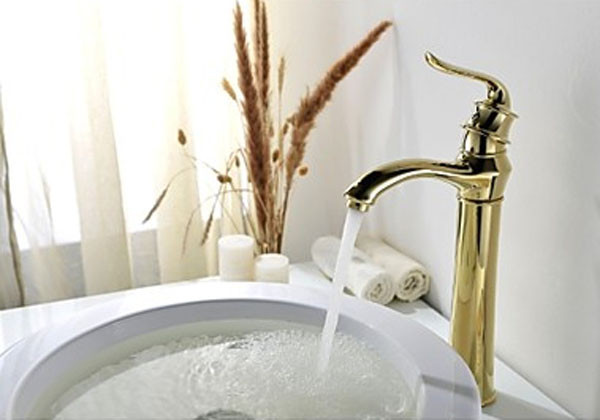 Tall Single Handle Vessel Faucet in Antique Gold Faucet