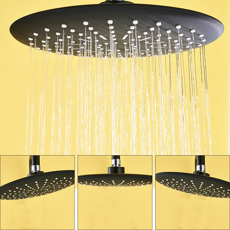 Thermostatic 3 Way Black Shower Head with Handheld Shower & Faucet