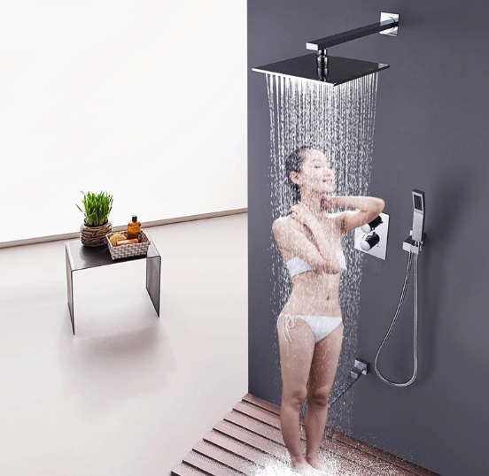 """Thermostatic Wall Mount 10"""" Shower Head with Faucet & Hand-Held Shower"""