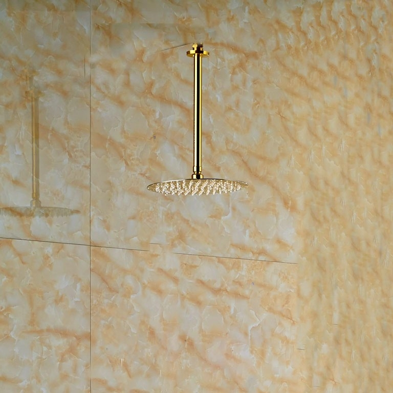 Thin Gold Plated Round Bathroom Shower with Hand-Held Shower