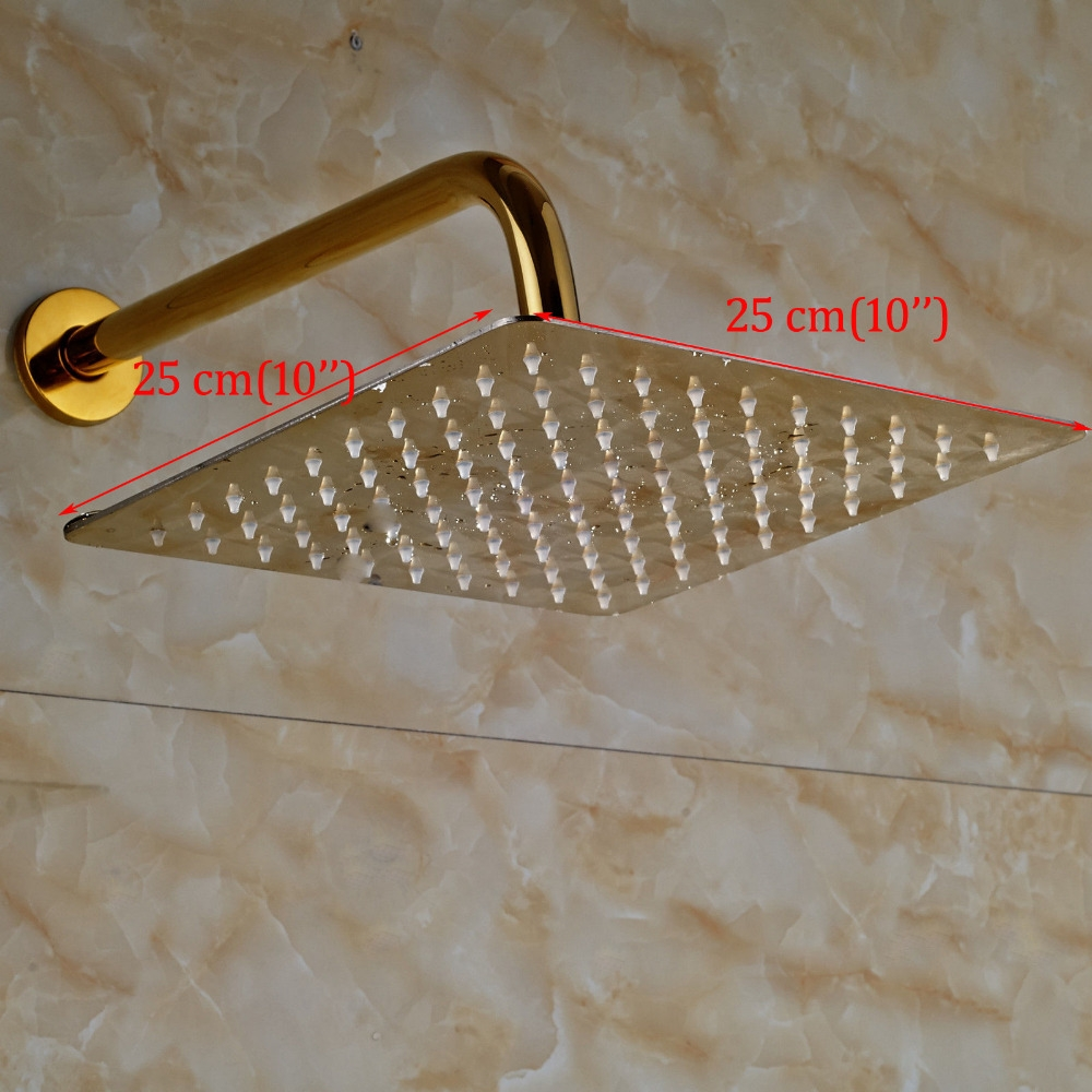 Thin Gold Plated Square 10 inches Bathroom Shower