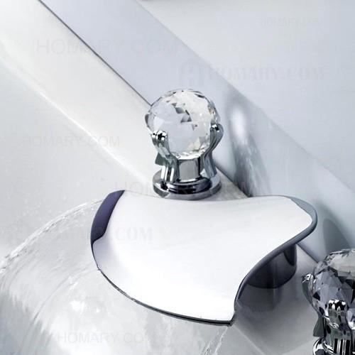 Triple Beautiful Crystal Handle Bathtub Faucet Handheld Shower