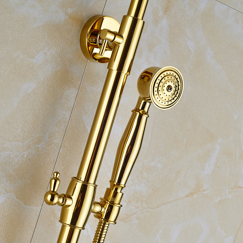 "Turin 8"" GOLD LED Luxury Rainfall Shower Faucet"