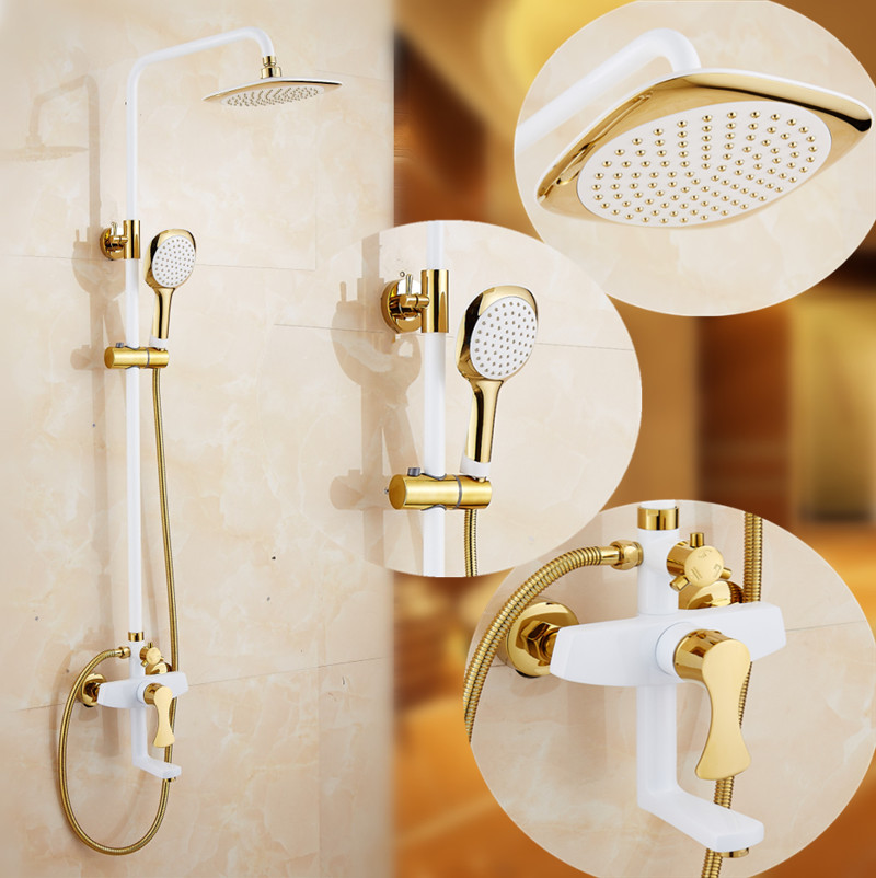 Turin Antique Wall Mount Shower And Bathtub Dual Handle Faucet Set