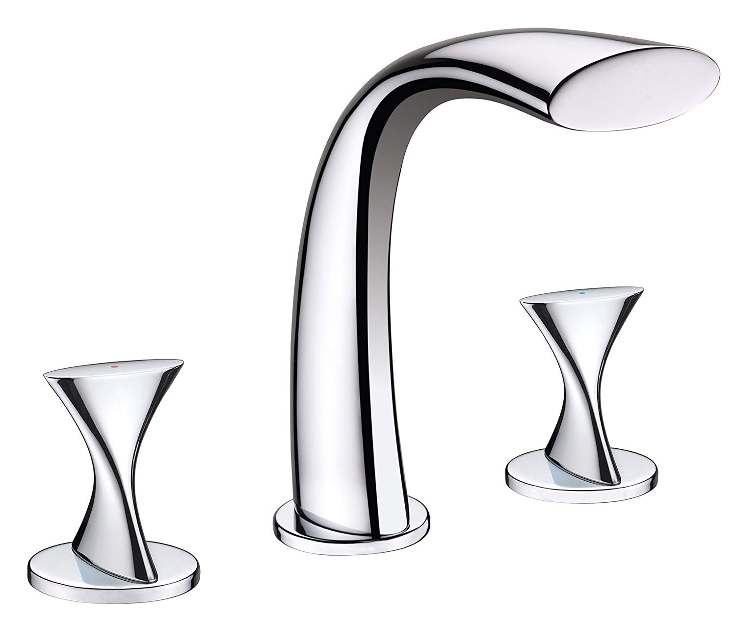 Twisted Chrome Finish Dual Handle Bathroom Faucet