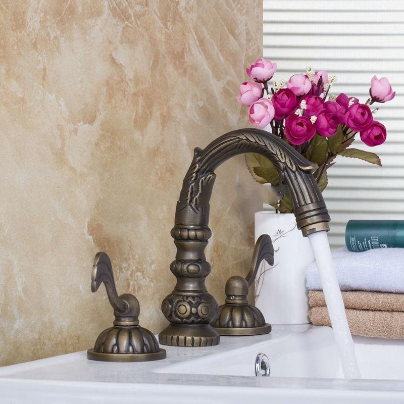 Unique Design Classic Antique Bronze Dual Handle Sink Faucet