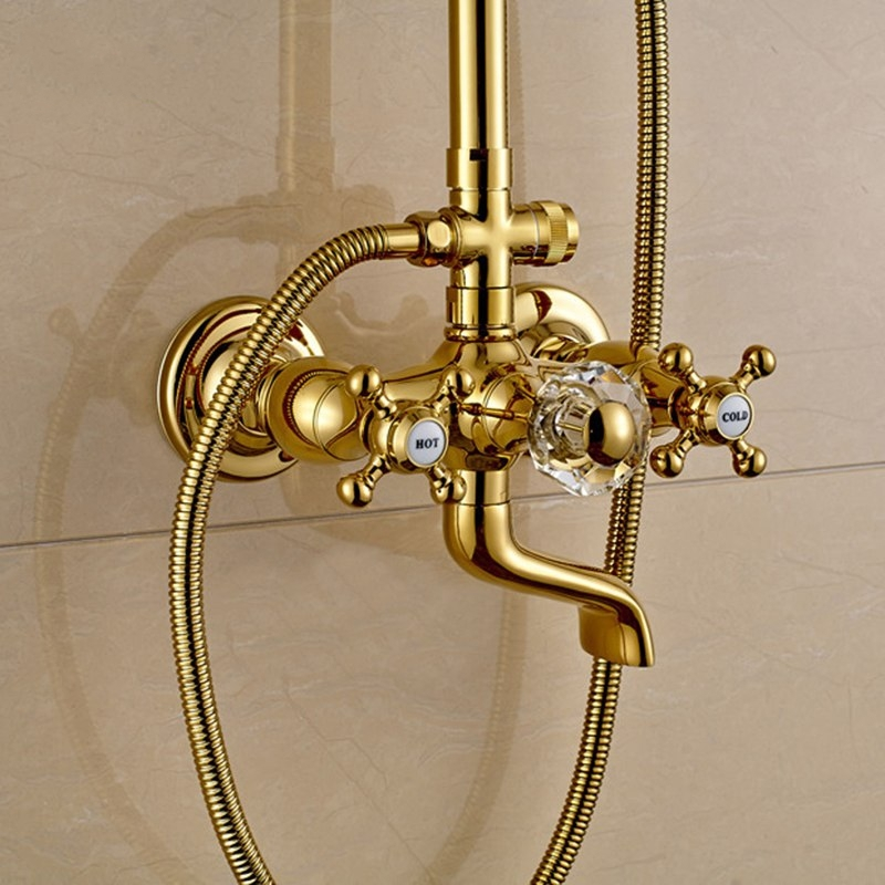 Unique Widespread Rain Waterfall Gold Bathroom Shower-Head