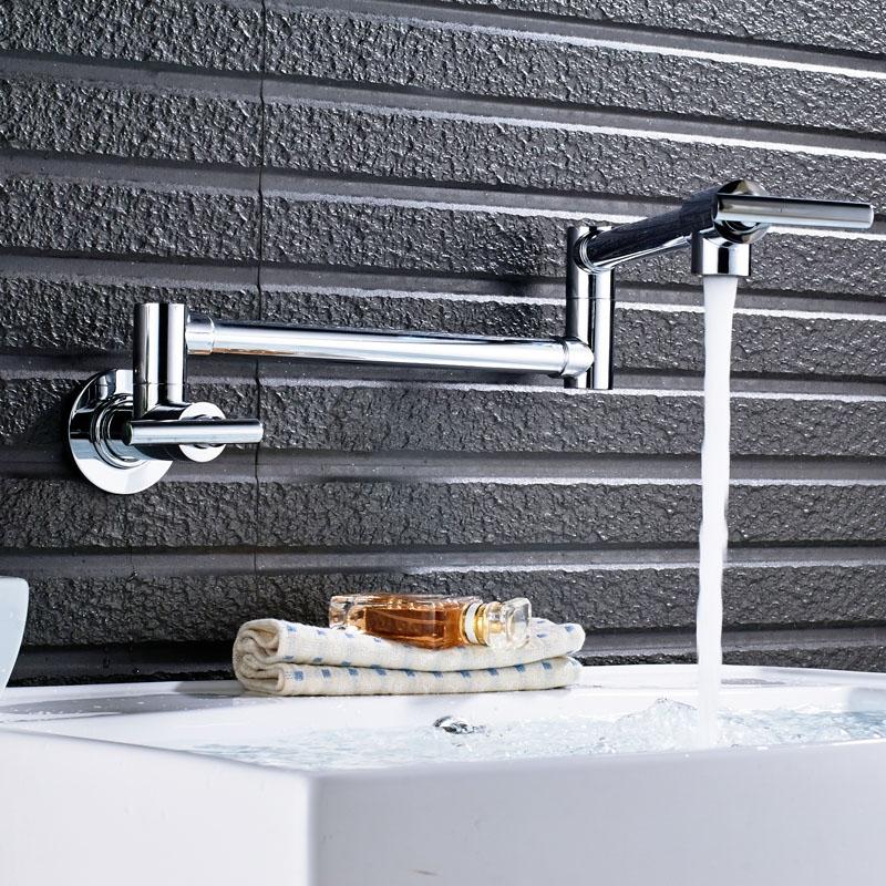 Wall Mounted Folding Rotating Water Kitchen Sink Mixer Faucet