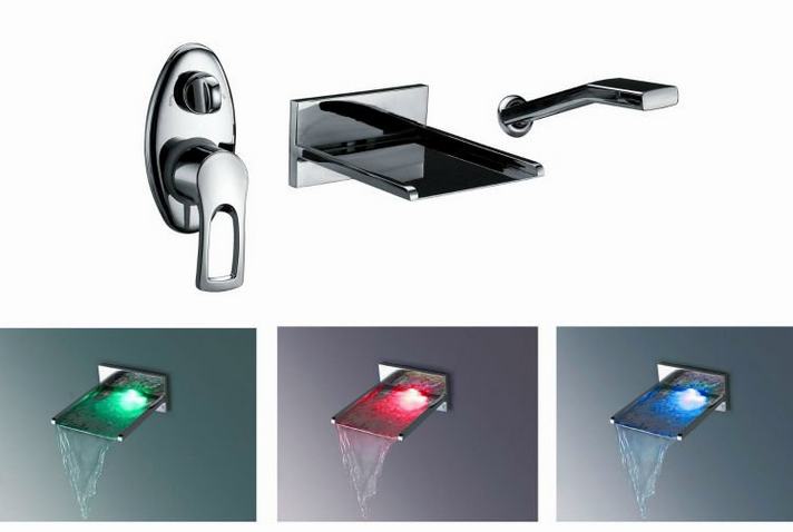 wall mount bathtub led waterfall faucet