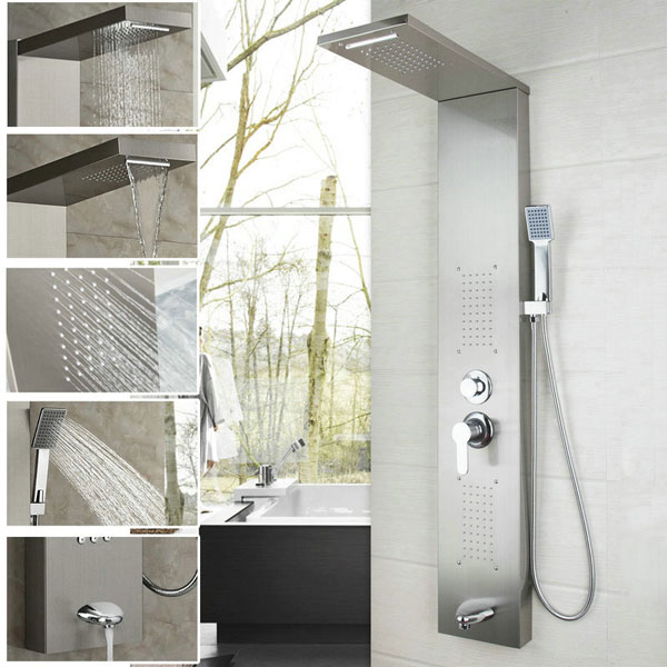 Wall Mounted Steel Shower Panel With Massage System & Spout