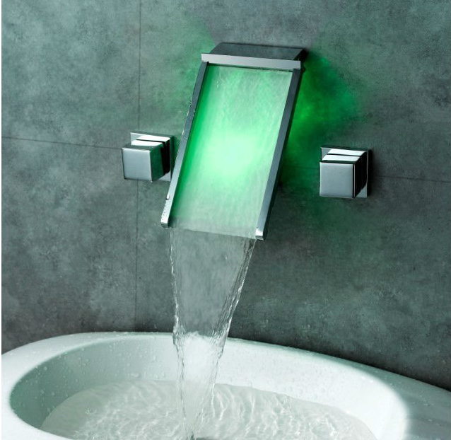 Wall Mount Bathroom Sink Faucet With LED Glass
