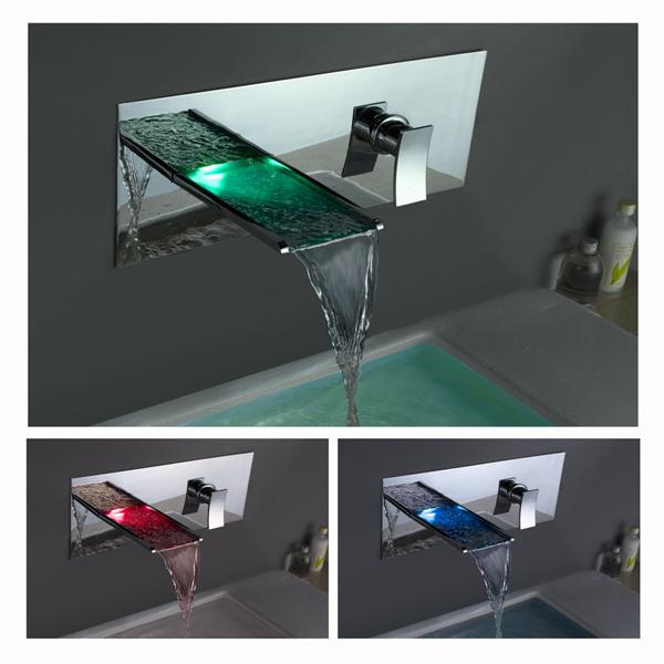 led bathroom waterfall sink faucet