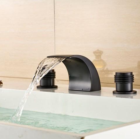 Luxury Deck Mount Oil Rubbed Bronze Waterfall Basin Sink Faucet