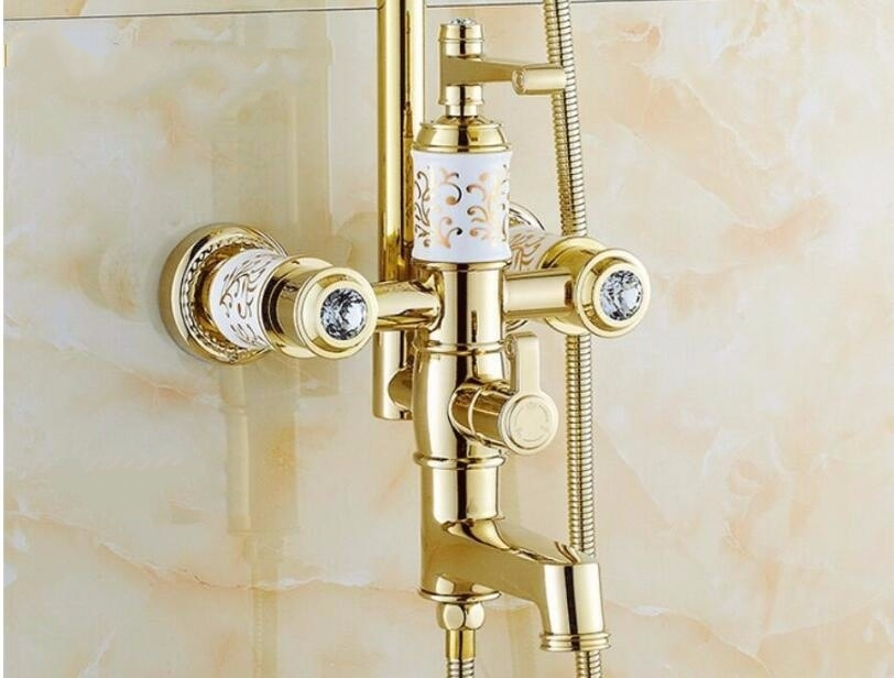 White Design Gold Bath Shower Faucet & Shower Head with Hand held Shower