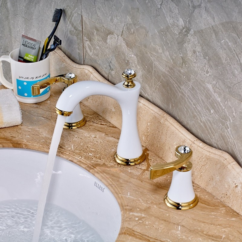White Golden Deck Mounted Gold Handle Bathroom Mixer Faucet