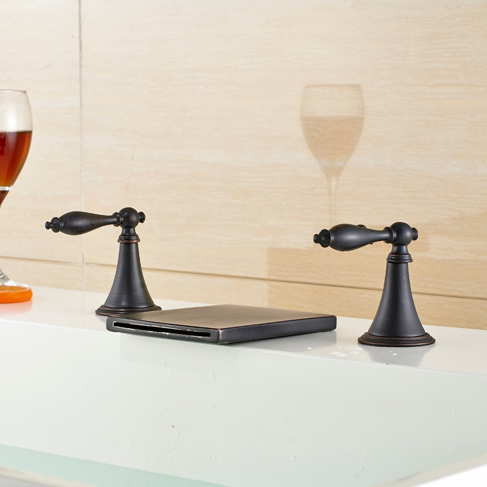Widespread Bathtub Waterfall Faucet Oil Rubbed Bronze