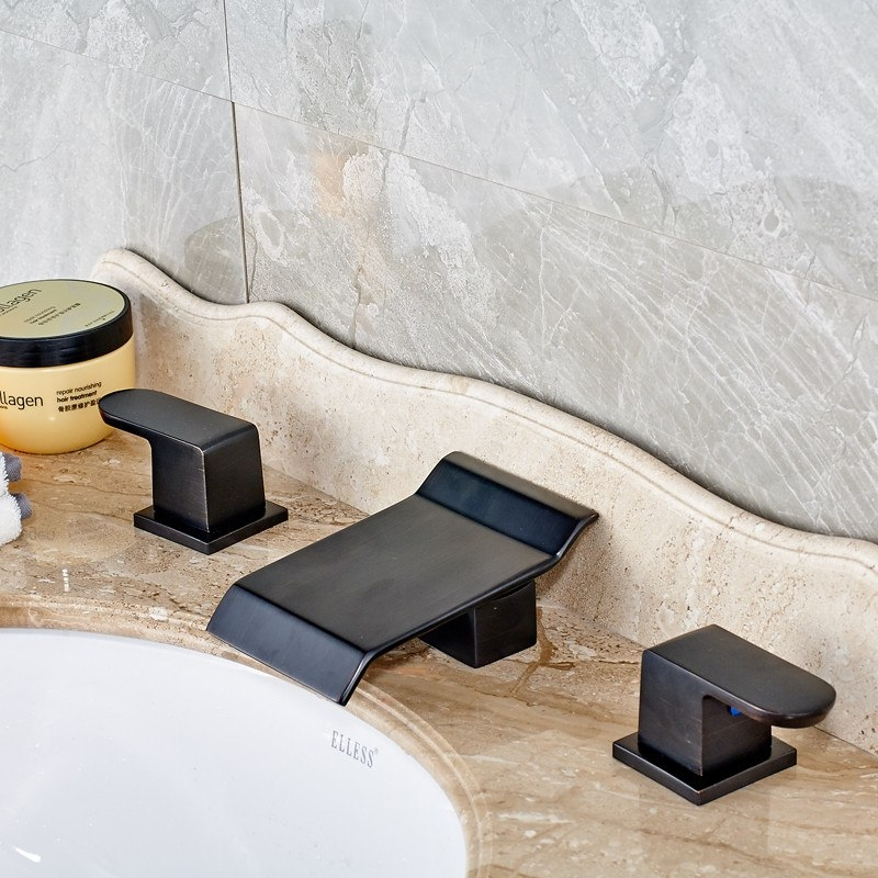 Widespread Antique Black Automatic Sensor Waterfall Bathroom Faucet