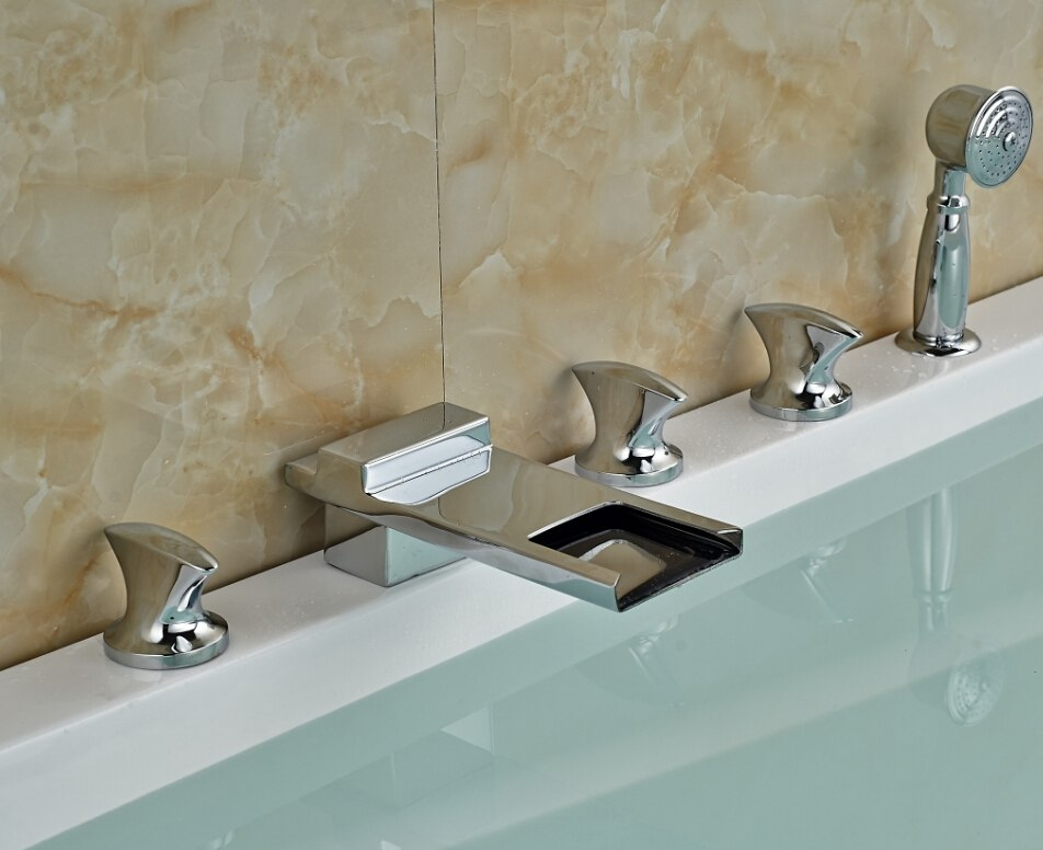 Widespread Stylish Triple Handle Chrome Bathtub Faucet with Hand Shower