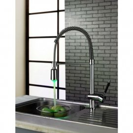 LED Water Powered Single Handle Pull Down Kitchen Sink Faucets