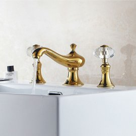Beautiful Golden Deck Mounted Crystal Handle Bathroom Mixer Faucet