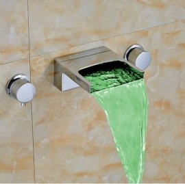 Wall Mount Color Changing LED Bathroom Sink Faucet