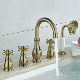 Brushed Bronze Bathtub Faucet Set Deck Mount Bath Tub Mixer Tap