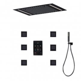 Luxury Large Black Built-in Rain Shower Set With Body Hydromassage Jets & Thermostat Smart Mixer