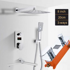 Temperature Display Mixer With Rainfall Shower System