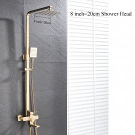 Juno New Rainfall Brushed Gold Square Bathroom Shower Column