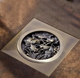 Amazing Antique Artistic Carved Fish 4 Inch Square Shower Drain