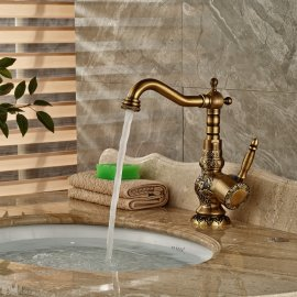 Antique-Brass-Single-Hand-Bathroom-Mixer-Faucet
