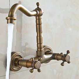 Antique -Wall Mounted Double Handle Bathroom Sink & Bathtub Faucet