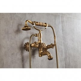 Juno Romanian Antique Brass Finish Bath Shower Set