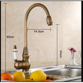New Antique Brass Hot & Cold Deck Mounted Single Handle Kitchen Faucet
