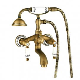 Claw Foot Antique Bronze Bathtub Mixer Faucet Ceramic Handles