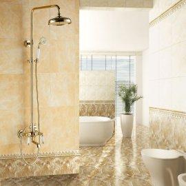 Antique Gold Dual Handle Copper Shower Bathroom Shower & Hand Held Shower