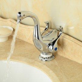 Attractive Duck Style Dual Handle Deck Mounted Bathroom Mixer Faucet