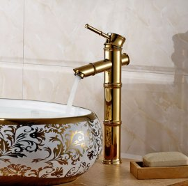 Bamboo Shape Waterfall Single Lever Gold Finish Bathroom Sink Faucet