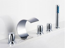 Triple Handel Chrome Roman Bathtub Faucet and Hand Held Shower