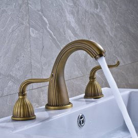 Widespread Three Holes Bathroom Sink Faucet Two Handles Basin Mixer Tap Solid Brass