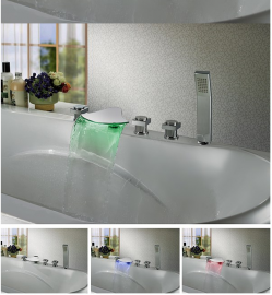 waterfall led bathtub faucet