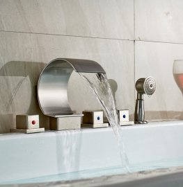 Bathtub Waterfall Faucet with Hand Held Shower Head