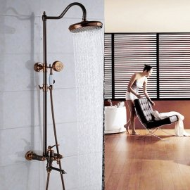 Beautiful Antique Design Rose Gold Wall Installation Shower Head with Hand-Held Shower