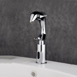 Beautiful Dolphin Chrome Finished Sensor Bathroom Faucet