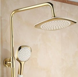 Beauty Classic Look Wall Mounted Dual Handle Bathroom Shower with Hand-Held Shower