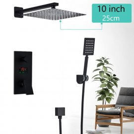Matte Black Rainfall Shower Head With Digital Mixer
